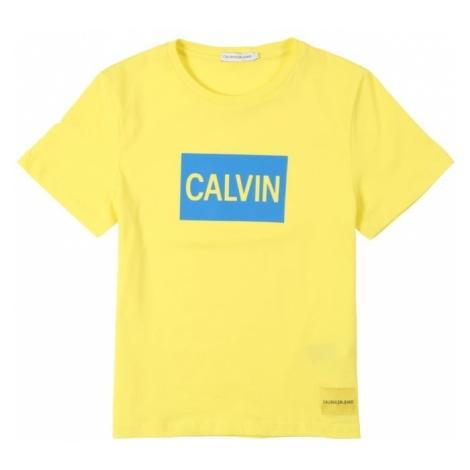 Calvin Klein Jeans Koszulka 'CALVIN LOGO REGULAR FIT TEE' jasnoniebieski / cytrynowy