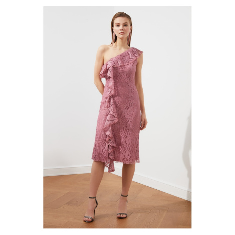 Trendyol Rose Dry Neck — szczegółowa sukienka