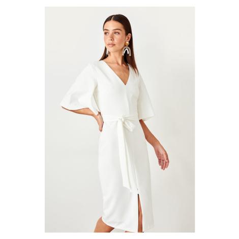 Trendyol Ecru Belted Dress