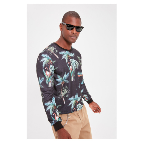 Trendyol Black Men's Bicycle Collar Long Sleeve Printed New Sweatshirt
