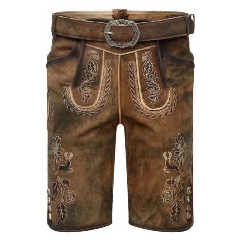 MARJO Spodnie ludowe 'Henry inkl. Gürtel' brązowy
