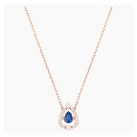 Naszyjnik Swarovski Sparkling Dance Pear, niebieski, w odcieniu różowego złota