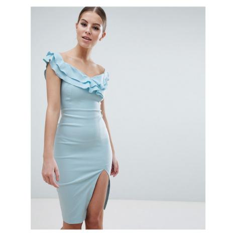 Vesper Sweetheart Plunge Midi Pencil Dress With Thigh Split