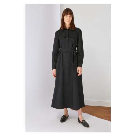 Trendyol Czarna koszula kołnierz sukienka