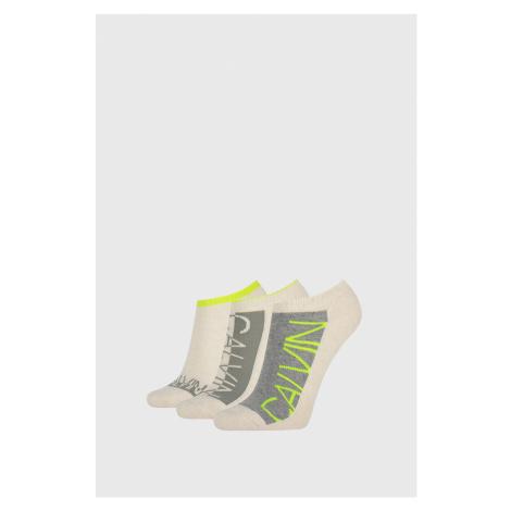 3 PACK damskich skarpetek Calvin Klein Nola beżowe