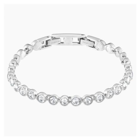 Tennis Bracelet, White, Rhodium plated Swarovski
