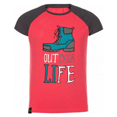 Dziewczęcy bawełniany t-shirt Motorower-jg różowy - Kilpi