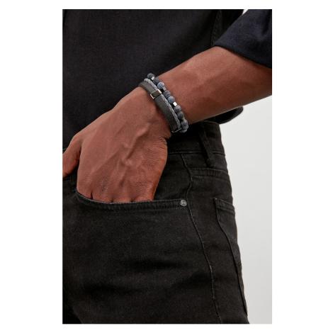 Trendyol Multicolored Men's 2' Natural Stone and Leather Hook Bijuteri Bracelet