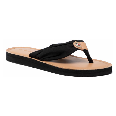 Japonki TOMMY HILFIGER - Leather Footbed Beach Sandal FW0FW00475 Black 990