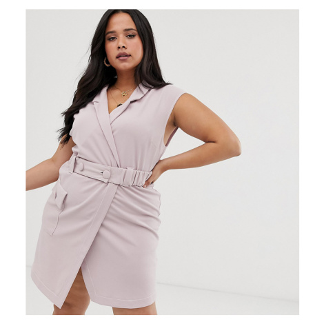 ASOS DESIGN Curve utility tux belted mini dress