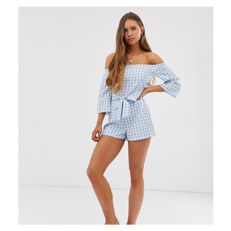 Boohoo bardot playsuit with tie waist in blue gingham