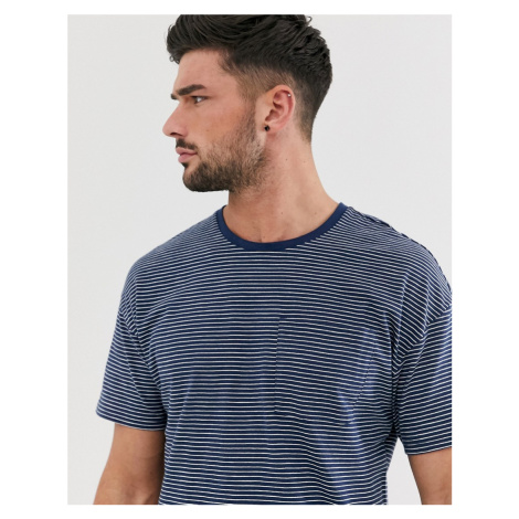 Only & Sons drop shoulder striped t-shirt in navy