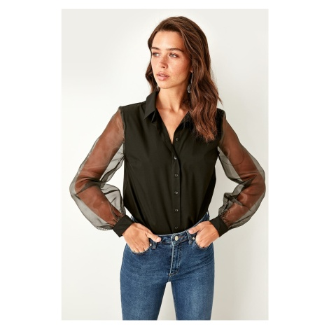 Trendyol Black Organza Sleeve Shirt