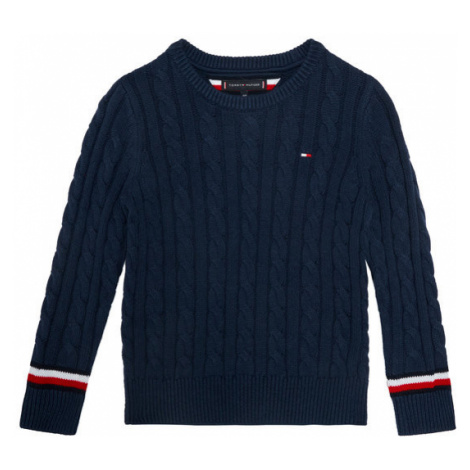 TOMMY HILFIGER Sweter Essential Cable KB0KB06082 M Granatowy Regular Fit