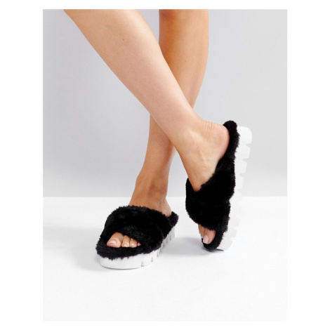 Glamorous Black Furry Cross Strap Slide Sandals
