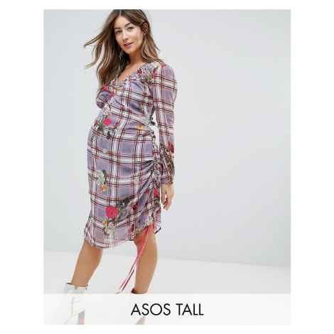 ASOS Maternity TALL Floral and Check Midi Dress with Tie Side Channelling Detail