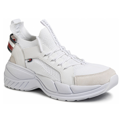 Sneakersy TOMMY HILFIGER - Chunky Knit Sneaker FM0FM02739 White YBS