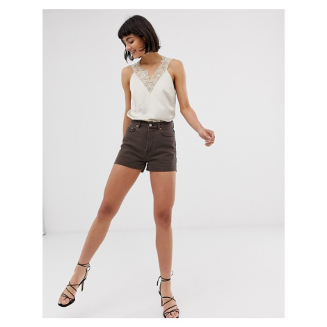 & Other Stories raw hem denim shorts in brown