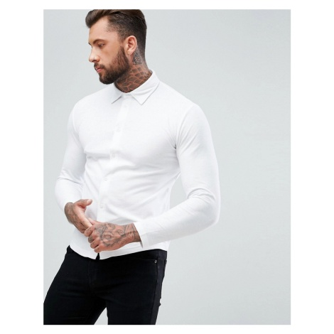 BoohooMAN regular fit pique shirt in white