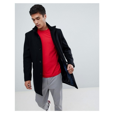 Selected Homme Funnel Neck Wool Mix Overcoat