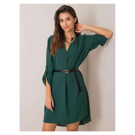 Women´s dark green dress with a belt