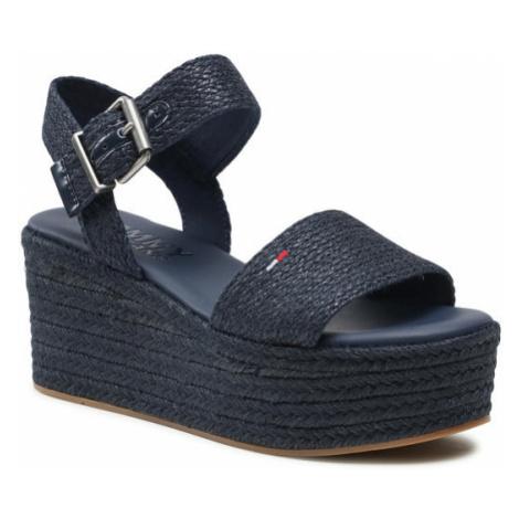 Tommy Hilfiger Espadryle Monochrome Flatform Sandal EN0EN01384 Granatowy