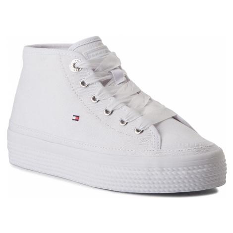 Sneakersy TOMMY HILFIGER - Pastel Mid Flatform Sneaker FW0FW02985 White 100