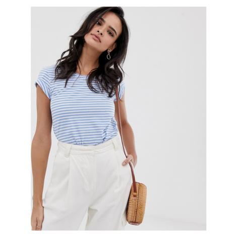 Esprit stripe crew neck t-shirt with turn up sleeve light blue