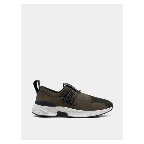Męskie sneakersy w kolorze khaki z zamszowymi detalami Replay