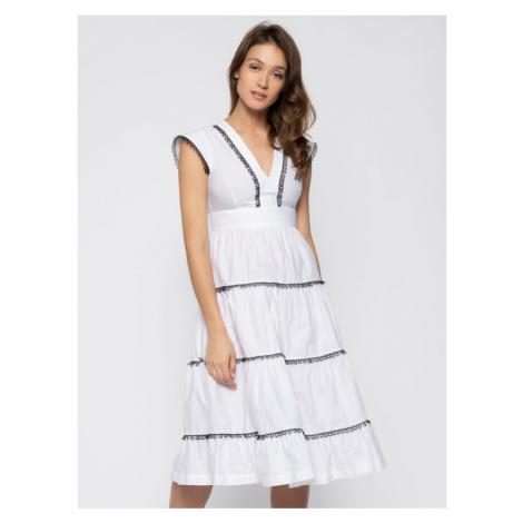 Pinko Sukienka codzienna Batman 20201 PBK2 1B14FJ 8012 Z04 Biały Regular Fit