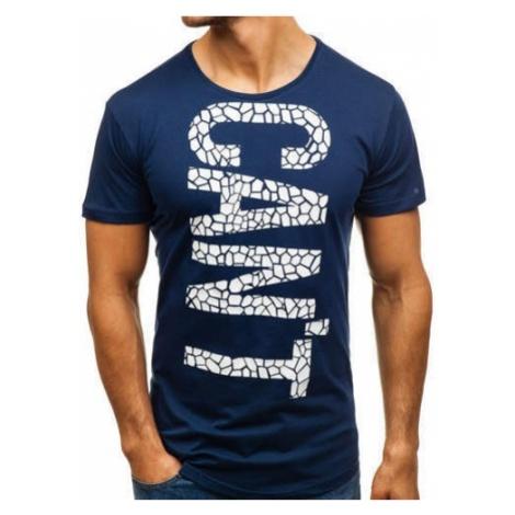 T-shirt męski z nadrukiem granatowy Denley 181150 BREEZY