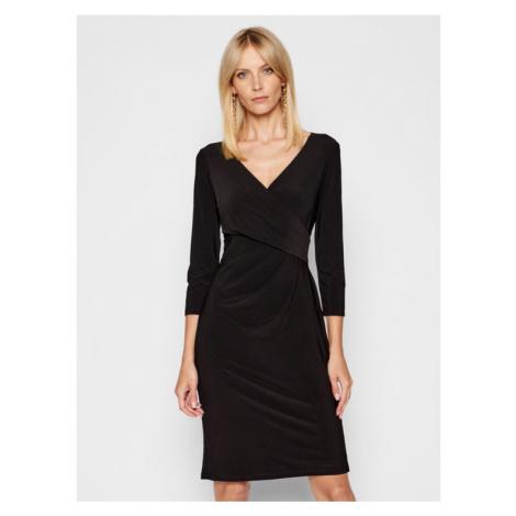 Lauren Ralph Lauren Sukienka koktajlowa Wrap-Front 250768183009 Czarny Slim Fit