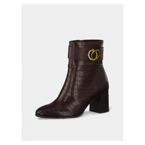 Burgundy Patterned Ankle Boots Tamaris