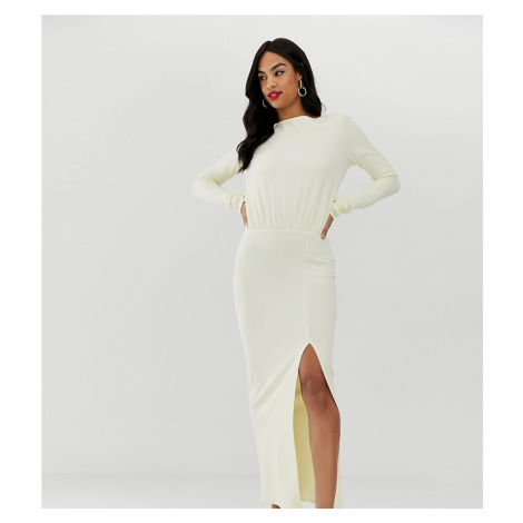 ASOS DESIGN long sleeve maxi dress with open back