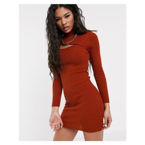 ASOS DESIGN asymetric cut out high neck mini dress