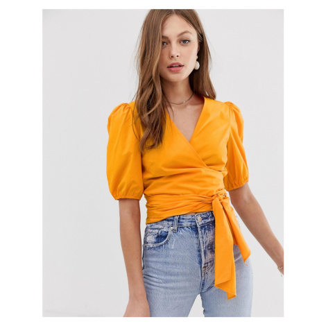 Mango wrap tie waist blouse in orange