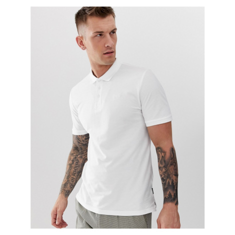 Only & Sons pique logo polo in white