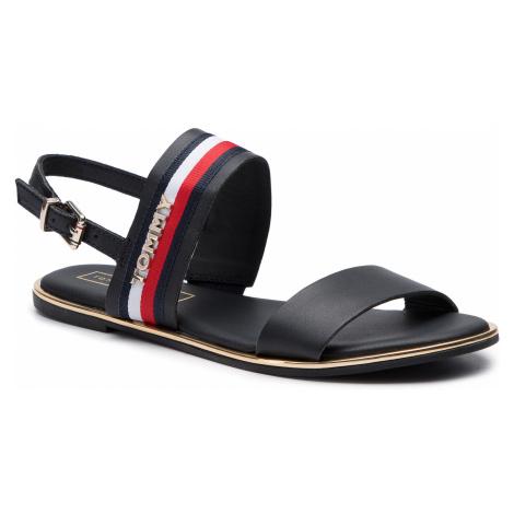 Sandały TOMMY HILFIGER - Flat Sandal Corporate Ribbon FW0FW04049 Midnight 403