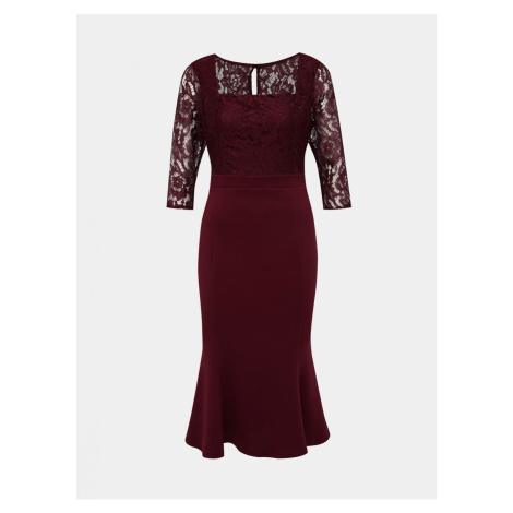 Burgundy pouch midi dress with lace Dorothy Perkins