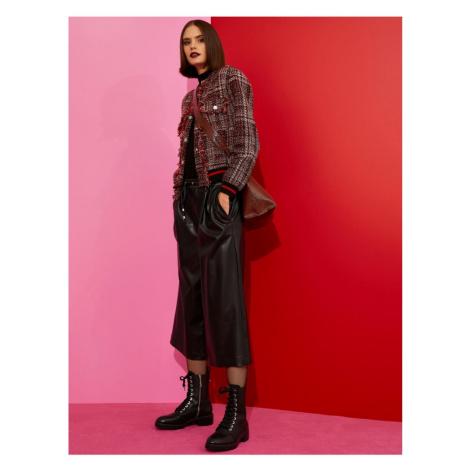 Koton Damskie czarne skórzane spodnie Crop Look