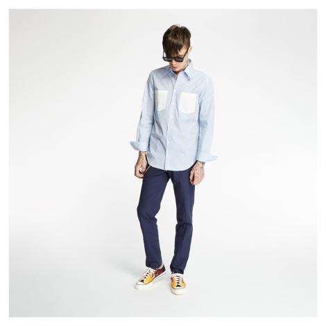 HELMUT LANG Striped Logo Print Shirt White/ Sky Blue
