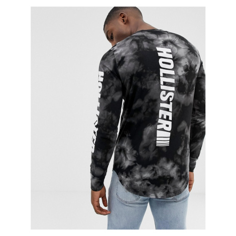 Hollister back and sleeve logo tai dye long sleeve top in black