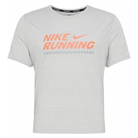 NIKE Koszulka funkcyjna 'Miler Future Fast' szary / pomarańczowy