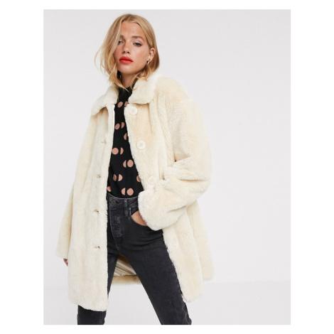ASOS DESIGN faux fur button through coat in cream