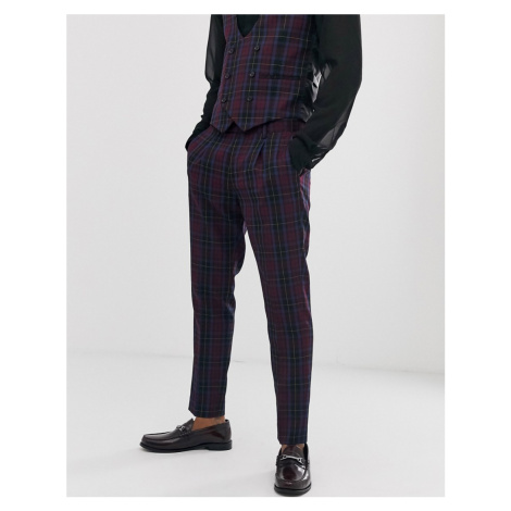 Devils Advocate skinny fit berry tartan check cropped suit trouser