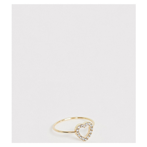 ASOS DESIGN Curve thumb ring in crystal heart design in gold tone