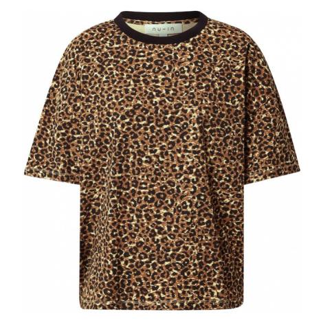 NU-IN Koszulka oversize brązowy / czarny / beżowy