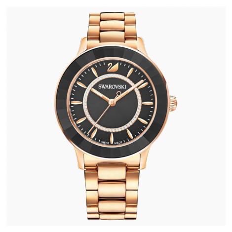 Zegarek Octea Lux, bransoleta z metalu, czarny, powłoka PVD w odcieniu różowego złota Swarovski