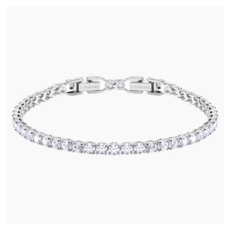 Tennis Deluxe Bracelet, White, Rhodium plated Swarovski