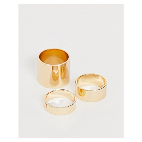 ASOS DESIGN pack of 3 rings in graduating thickness in gold tone